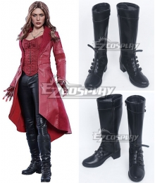Marvel Captain America: Civil War Scarlet Witch Wanda Django Maximoff Black Shoes Cosplay Boots