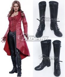 Marvel Captain America: Civil War Scarlet Witch Wanda Django Maximoff Black Shoes Cosplay Boots