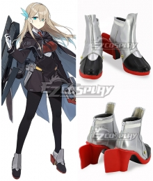 Warship Girls Lexington CV-16 Black Silver Cosplay Shoes