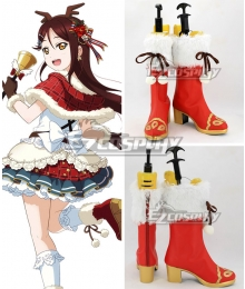 Love Live! Sunshine!! Sakurauchi Riko Christmas Ver. Red Shoes Cosplay Boots