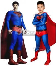 Kids DC Crisis on Infinite Earths Superman Kal-El Zentai Jumpsuit Cosplay Costume
