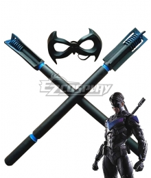DC Batman Arkham City Nightwing Mask Two Stick Cosplay Weapon Prop