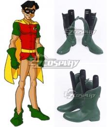 DC Comics Batman Robin Dick Grayson Green Shoes Cosplay Boots - A Edition
