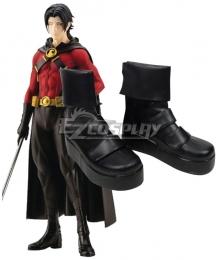 DC Comics Red Robin Tim Drake Black Cosplay Shoes