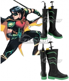 DC Comics Young Justice Robin Tim Drake Black Green Shoes Cosplay Boots
