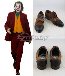 DC The Joker Teaser Trailer Joker Brown Black Cosplay Shoes
