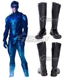 DC Titans season 2 Nightwing Black Shoes Cosplay Boots