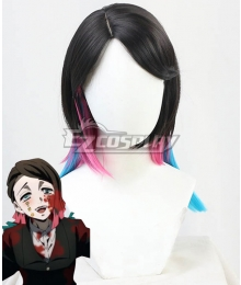 Demon Slayer: Kimetsu No Yaiba Enmu Black Pink Blue Cosplay Wig
