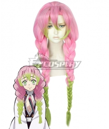Demon Slayer: Kimetsu No Yaiba Kanroji Mitsuri Pink Green Cosplay Wig B Edition