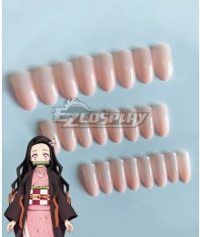 Demon Slayer: Kimetsu No Yaiba Nezuko Kamado Pink Fake nails Cosplay Accessory Prop