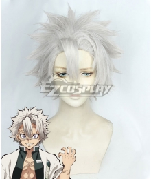 Demon Slayer: Kimetsu No Yaiba Sanemi Shinazugawa Silver Cosplay Wig