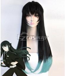 Demon Slayer: Kimetsu No Yaiba Tokitou Muichirou Muichiro Tokito Black Green Cosplay Wig