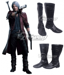 Devil May Cry 5 Dante Black Shoes Cosplay Boots