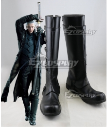 Devil May Cry 5 DMC5 Vergil Black Shoes Cosplay Boots
