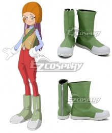 Digimon Adventure 2 Miyako Inoue Miyako Yolet Green White Shoes Cosplay Boots