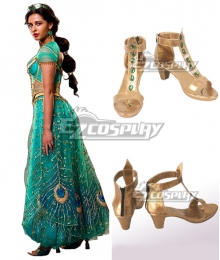 Disney 2019 ALADDIN Princess Jasmine Golden Cosplay Boots