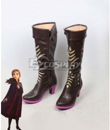 Disney Frozen 2 Anna Brown Shoes Cosplay Boots