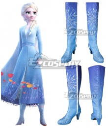 Disney Frozen 2 Elsa Blue Shoes Cosplay Boots