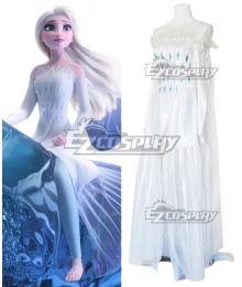 Disney Frozen 2 Elsa White Dress Cosplay Costume