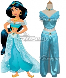 Disney Princess Princesa Jasmine Blue Cosplay Costume
