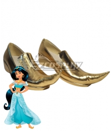 Disney Princess Princesa Jasmine Golden Cosplay Shoes
