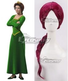 DreamWorks Shrek Princess Fiona Wine Red Cosplay Wig