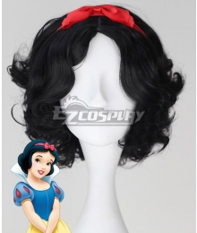 Disney Snow White Princess Red Headwear Black Cosplay Wig