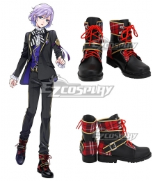 Disney Twisted Wonderland Pomefiore Epel Felmier Black Red Shoes Cosplay Boots