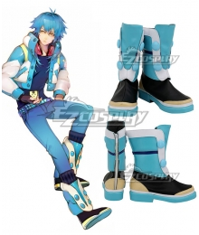 DMMD Dramatical Murder Seragaki Blue Black Shoes Cosplay Boot