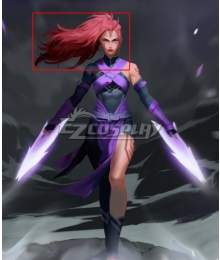 Dota 2 Ti10 The Disciple's Path Anti-Mage Female Anti Mage Red Cosplay Wig