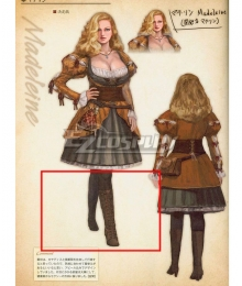 Dragon's Dogma Madeleine Black Shoes Cosplay Boots