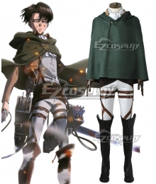 Attack on Titan Shingeki no Kyojin Levi Ackerman Scout Regiment Cosplay Costume - No Boots