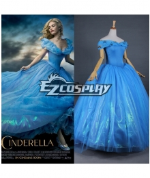 Cinderella 2015 Film Princess Cinderella Ella Party Dress Cosplay Costume - B Edition