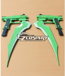 RWBY Beacon Academy Team JNPR Lie Ren Green Automatic Pistols StormFlower Cosplay Prop