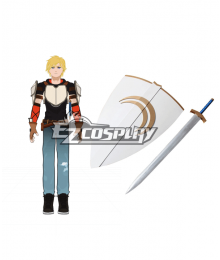 RWBY Cosplay Jaune Arc Crocea Mors Sword & Shield Silver Cosplay Prop