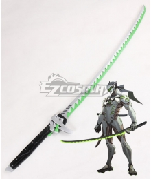 Overwatch OW Genji Shimada Long sword Green Cosplay Weapon Prop