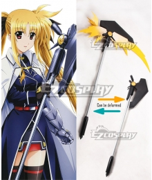 Magical Girl Lyrical Nanoha Fate Testarossa Harlaown Bardiche Staves Scythe Cosplay Weapon Prop - Can be deformed