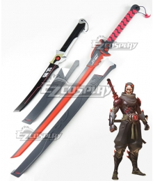 Overwatch OW Genji Shimada Oni Two Swords Cosplay Weapon Prop