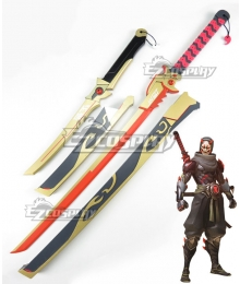 Overwatch OW Genji Shimada Oni Two Swords Golden Cosplay Weapon Prop