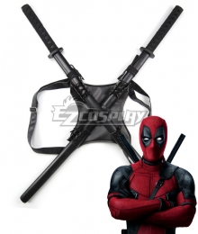 Marvel Deadpool Wade Winston Wilson Strap Two Swords Cosplay Weapon Prop