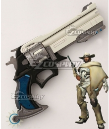 Overwatch OW Jesse McCree White Hat Gun Cosplay Weapon Prop