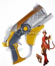 Overwatch OW Mercy Angela Ziegler Devil Golden Caduceus Blaster Gun Cosplay Weapon Prop