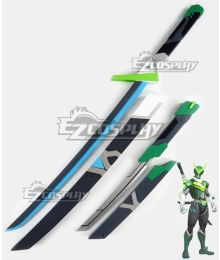Overwatch OW Genji Shimada Sentai Two Swords Cosplay Weapon Prop