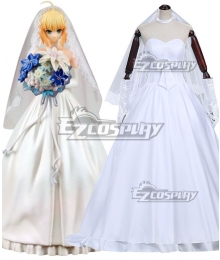 Fate Stay Night Figure Juguetes Saber Lily 10th Wedding Dress Cosplay Costume