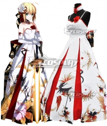 Fate Grand Order Saber Crane Wedding Dress Cosplay Costume