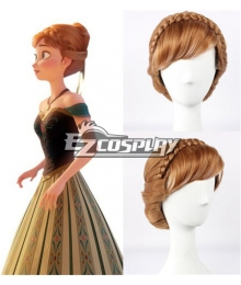 Frozen Princess Snow Queen Anna Updo Briaid Coronation Style Disney Cosplay Wig -336C
