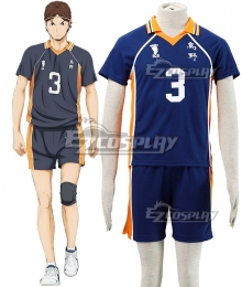Haikyu!! Haikyuu!! Karasuno High School Asahi Azumane Royal Blue Cosplay Costume