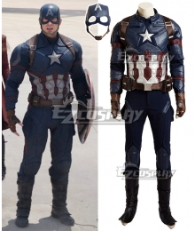 Marvel Captain America Civil War Steven Steve Rogers Cosplay Costume