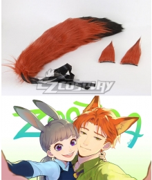 Disney Zootopia Nicholas P. Wilde Fox Nick Ears and Tail Cosplay Accessory Prop