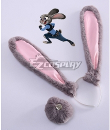 Disney Zootopia Officer Judy Hopps Personify Movie Ears Tail Cosplay Accessory Prop